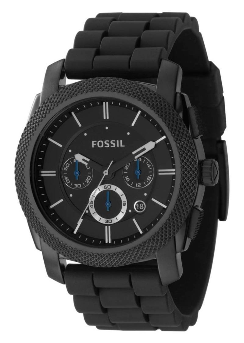 Fossil Men's Chronograph Machine Black Silicone Strap Watch 45mm FS4487