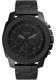 Fossil Men's Chronograph Mega Machine Black Stainless Steel Bracelet Watch 50mm