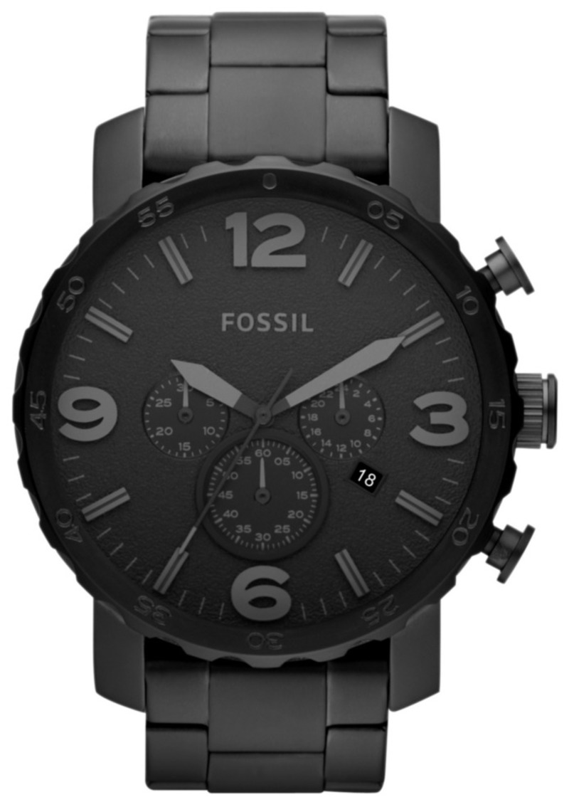 Fossil Men's Chronograph Nate Black-Tone Stainless Steel Bracelet Watch 50mm JR1401