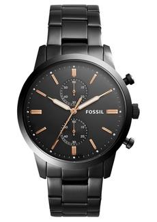 Fossil Men's Chronograph Townsman Black Stainless Steel Bracelet Watch 44mm