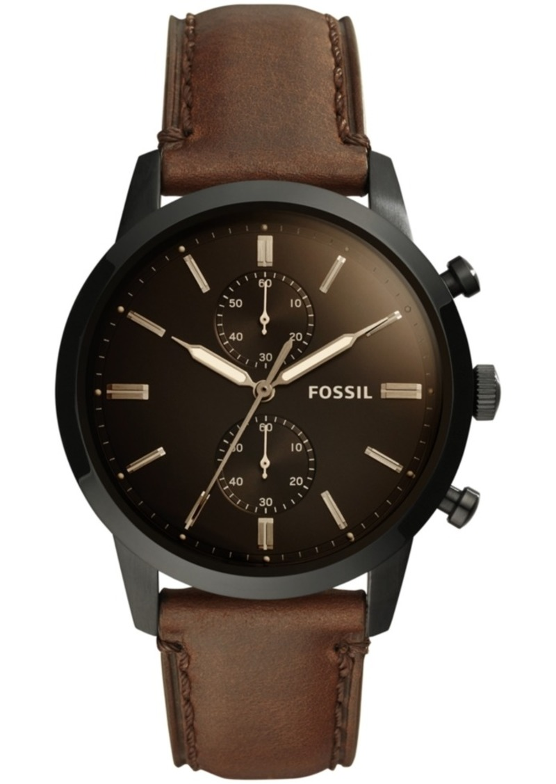Fossil Men's Chronograph Townsman Brown Leather Strap Watch 44mm