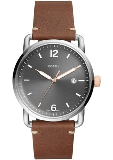 Fossil Men's Commuter Brown Leather Strap Watch 42mm
