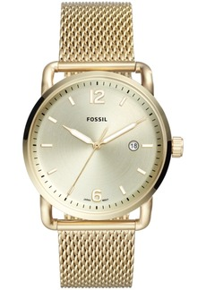 Fossil Men's Commuter Gold-Tone Stainless Steel Mesh Bracelet Watch 42mm