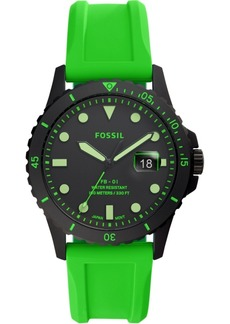 Fossil Men's Fb-01 Green Silicone Strap Watch 42mm