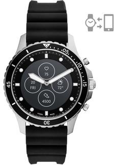 Fossil Men's Fb-01 Hr Black Silicone Strap Hybrid Smart Watch 42mm