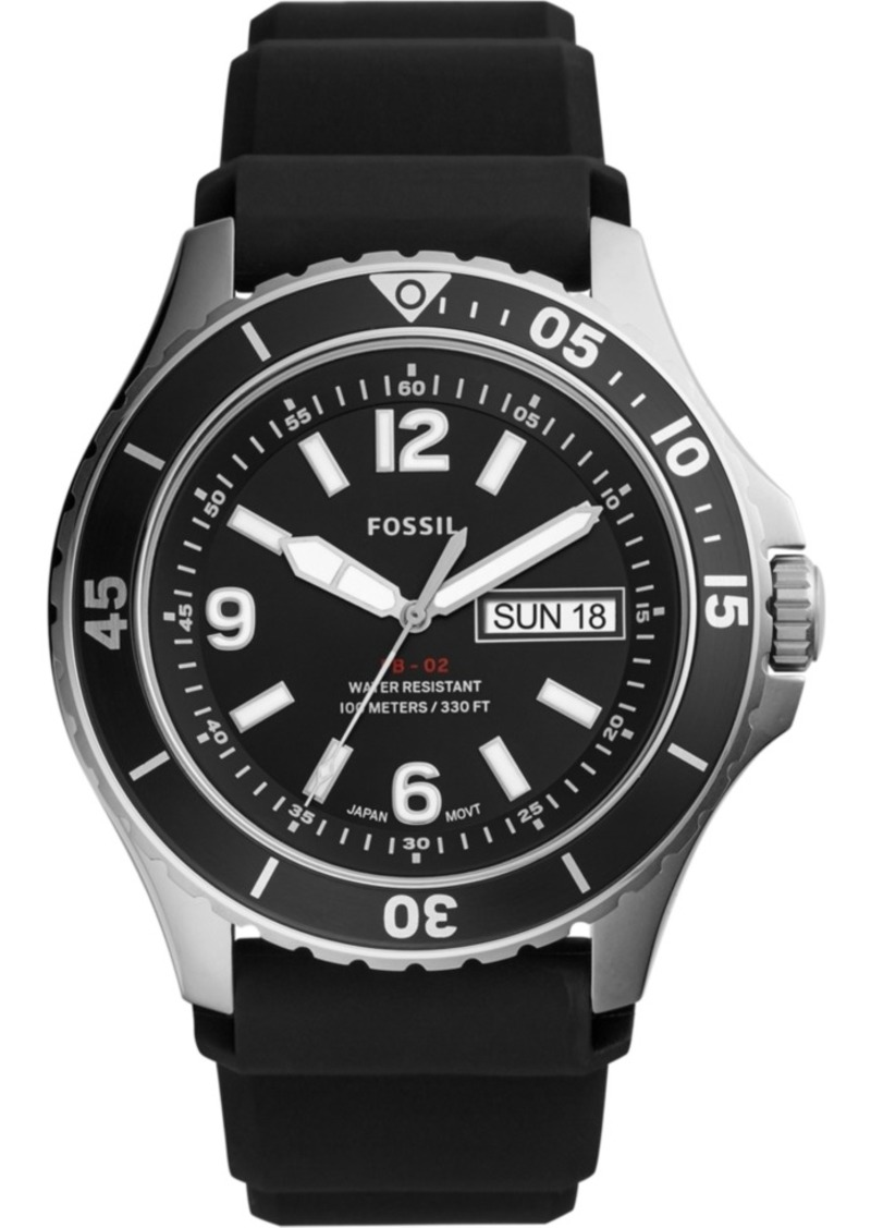 Fossil Men's Fb-02 Black Silicone Strap Watch 48mm