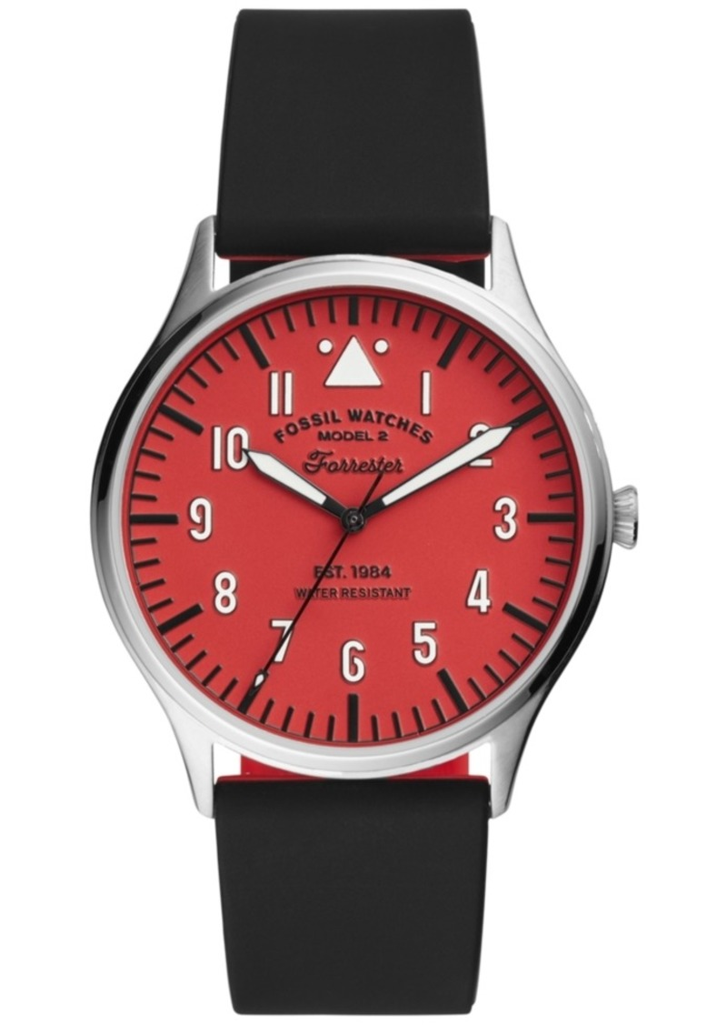 Fossil Men's Forrester Black Silicone Strap Watch 42mm