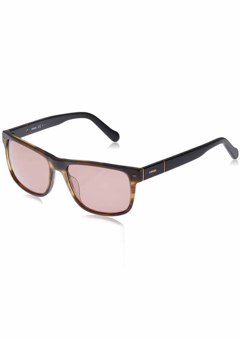 Fossil Men's Fos2050s FOS2050S Rectangular Sunglasses BROWN STRIPE BLACK/BROWN