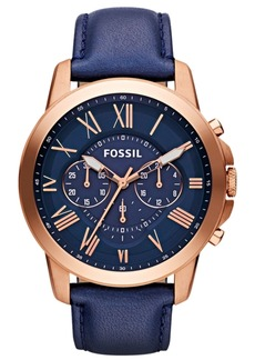 Fossil Men's Grant Navy Leather Strap Watch 44mm FS4835