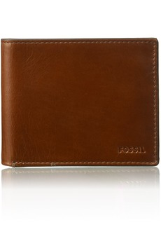 Fossil Men's Hugh Leather RFID Blocking Bifold Flip ID Wallet