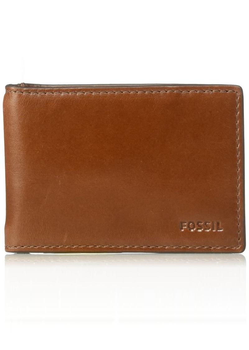 Fossil Men's Hugh Leather RFID Blocking Money Clip Bifold Wallet