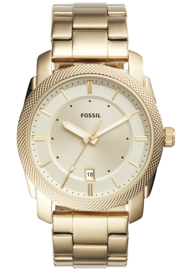 Fossil Men's Machine Gold-Tone Stainless Steel Bracelet Watch 42mm FS5264