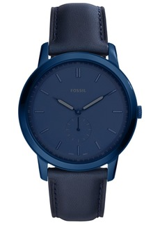Fossil Men's Minimalist Blue Leather Strap Watch 44mm