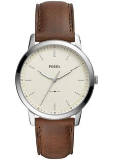 Fossil Men's Minimalist Brown Leather Strap Watch 44mm