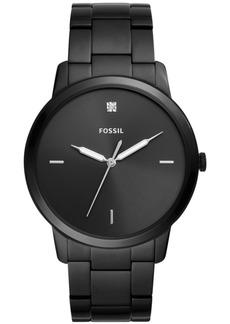 Fossil Men's Minimalist Carbon Series Diamond-Accent Black Stainless Steel Bracelet Watch 44mm