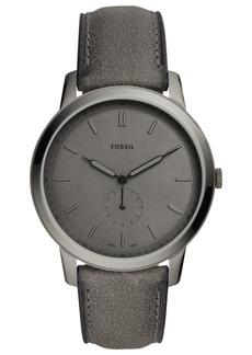 Fossil Men's Minimalist Gray Leather Strap Watch 44mm
