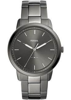 Fossil Men's Minimalist Smoke Stainless Steel Bracelet Watch 44mm