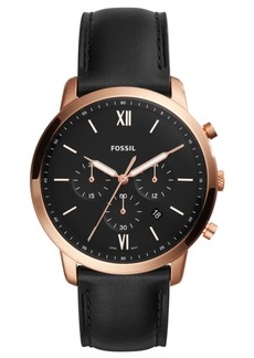 Fossil Men's Neutra Chronograph Black Leather Strap Watch 44mm
