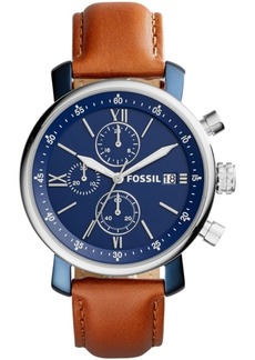 Fossil Men's Rhett Chronograph Silver-Tone Leather Watch 42mm