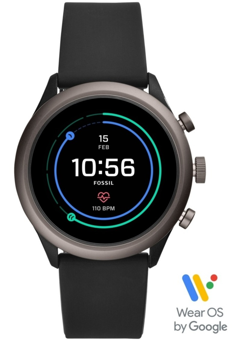 Fossil Men's Sport Hr Black Silicone Strap Smart Watch 43mm, Powered by Wear Os by Google