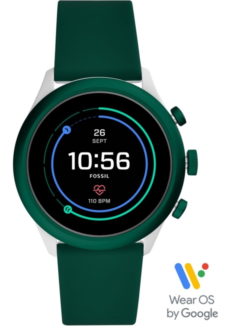 Fossil Men's Sport Hr Green Silicone Strap Touchscreen Smart Watch 43mm, Powered by Wear Os by Google
