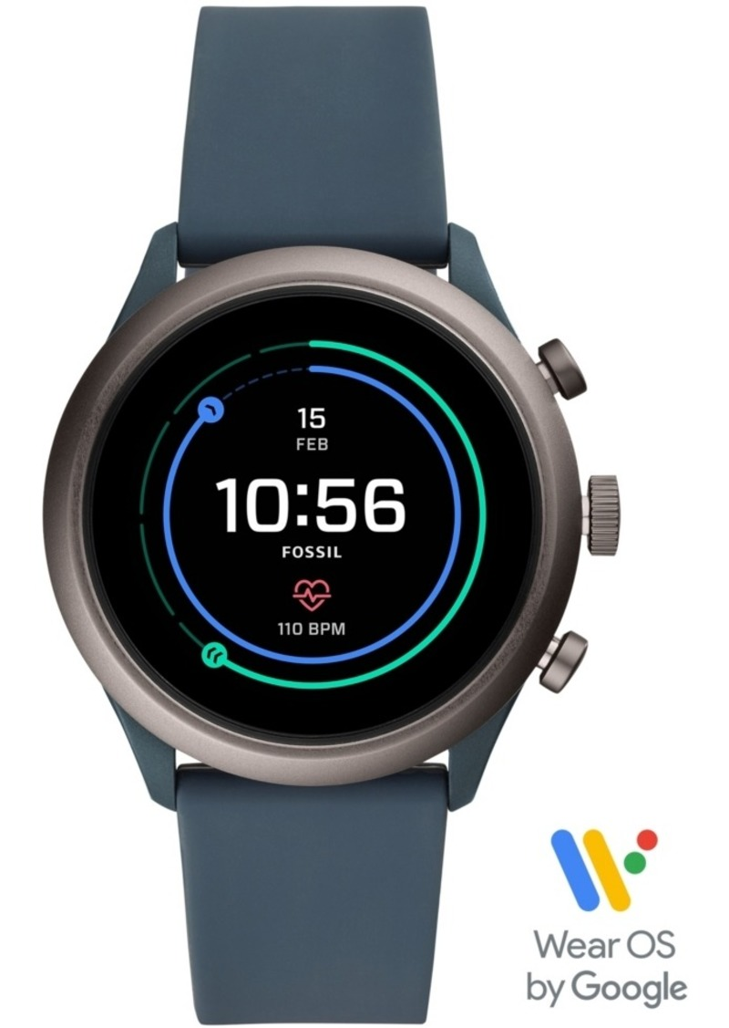 Fossil Men's Sport Hr Smokey Blue Silicone Strap Smart Watch 43mm, Powered by Wear Os by Google