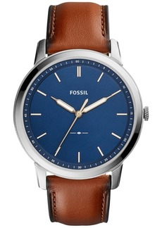 Fossil Men's The Minimalist Brown Leather Strap Watch 44mm