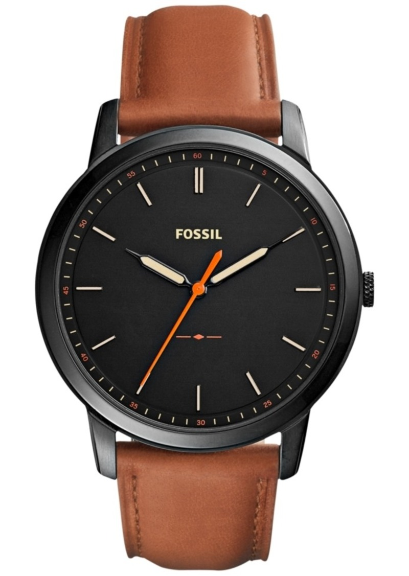 Fossil Men's The Minimalist Brown Leather Strap Watch 44mm FS5305
