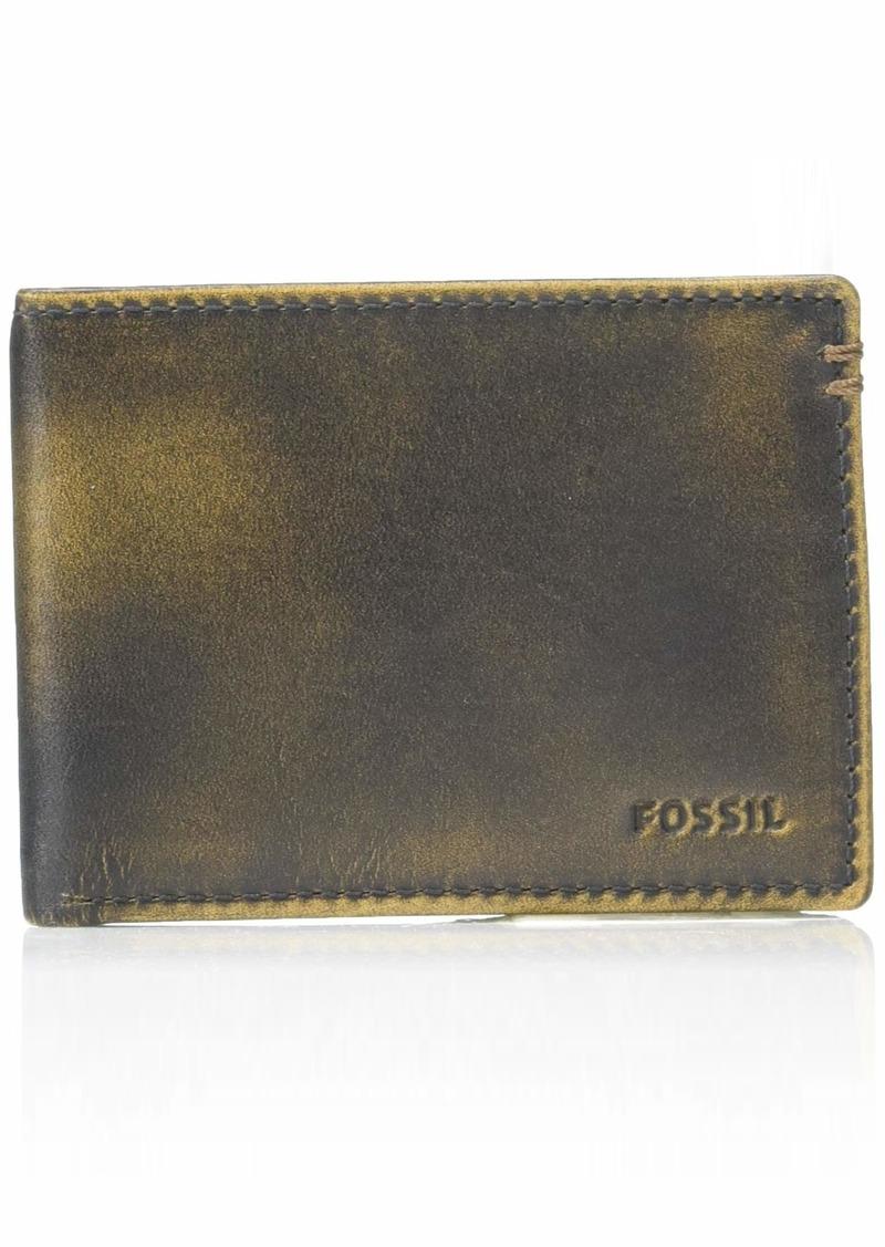 Fossil Men's Wade Leather Front Pocket Bifold Wallet Black
