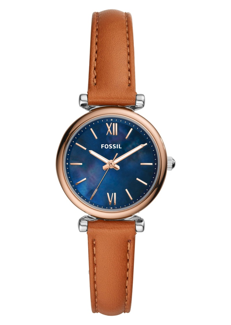 Fossil Mini Carlie Leather Strap Watch, 28mm