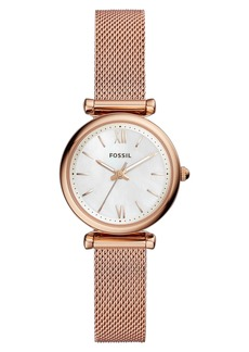 Fossil Mini Carlie Mesh Strap Watch, 28mm