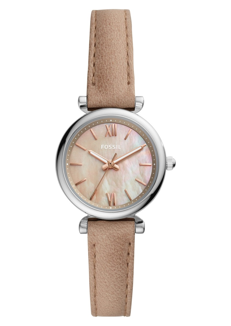 Fossil Mini Carlie Star Leather Strap Watch, 28mm