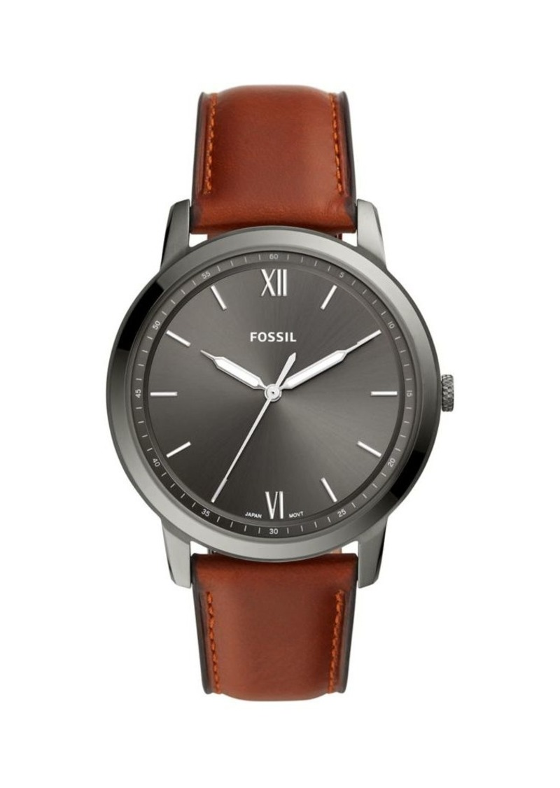 Fossil Minimalist Stainless Steel & Leather-Strap 3-Hand Watch