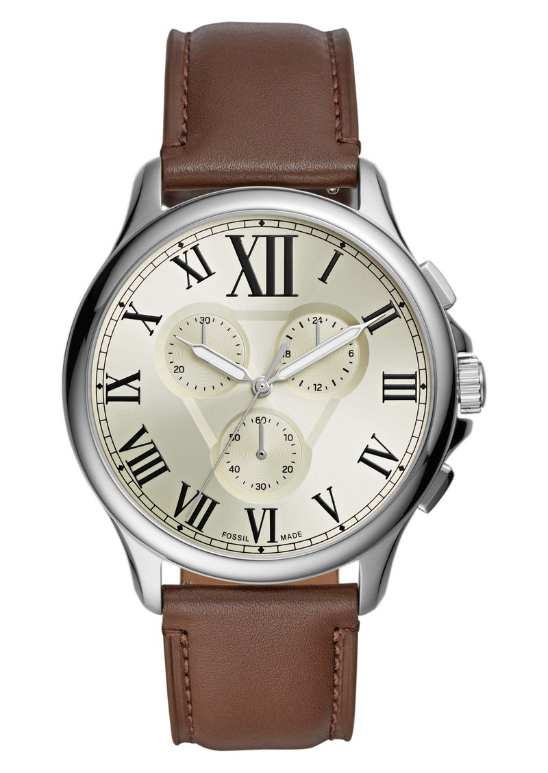 Fossil Monty Chronograph Leather Strap Watch, 44mm