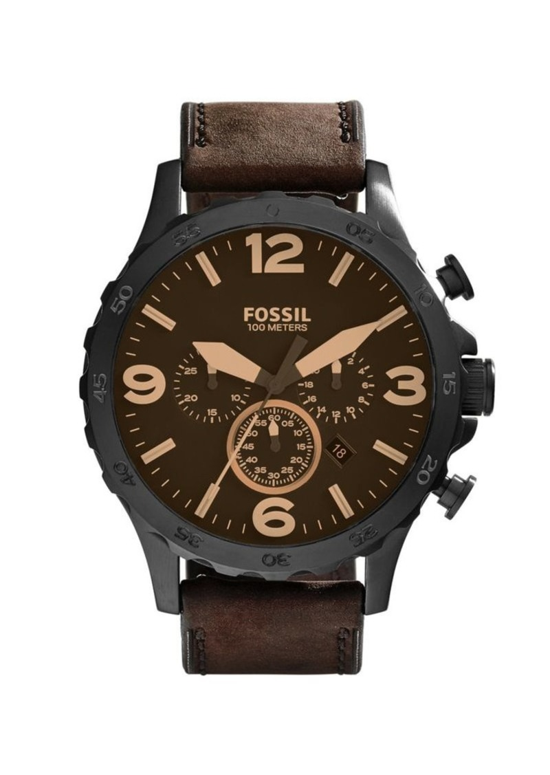Fossil Nate Leather Strap Chronograph Watch