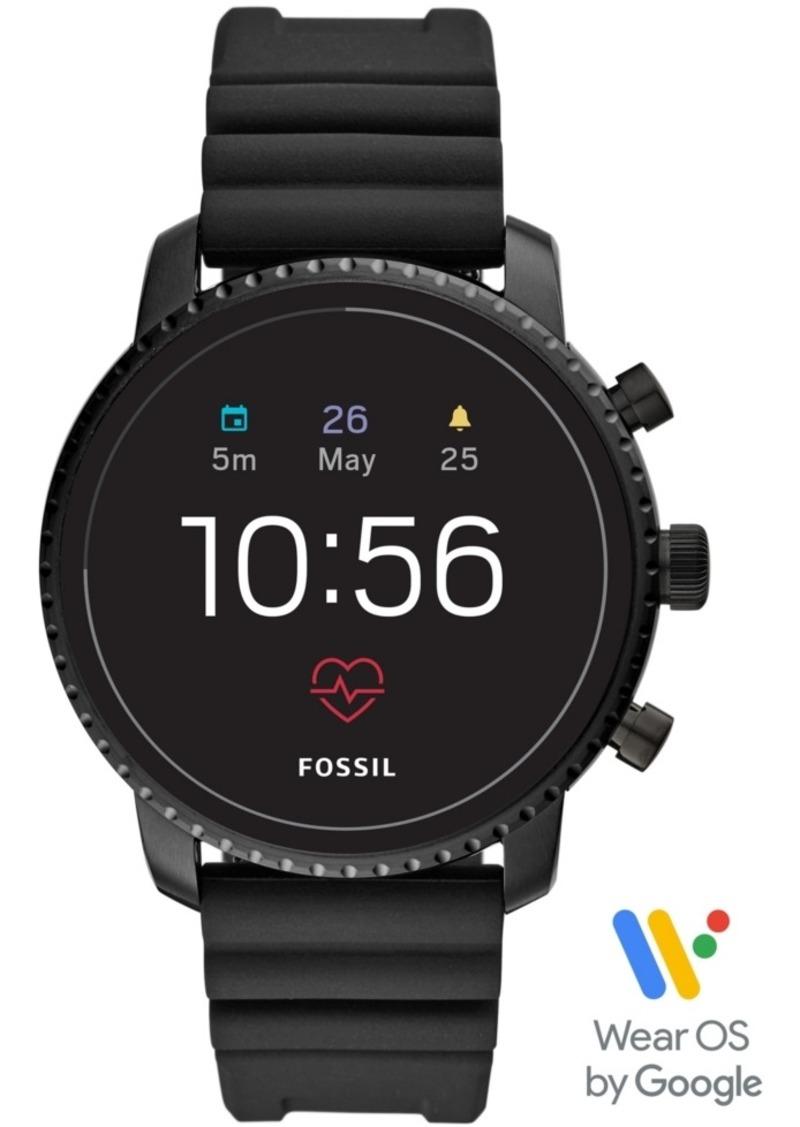 Fossil Men's Tech Explorist Gen 4 Hr Black Silicone Strap Touchscreen Smart Watch 45mm, Powered by Wear Os by Google