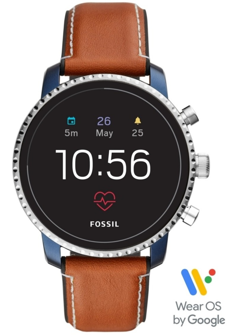 Fossil Men's Tech Explorist Gen 4 Hr Brown Leather Strap Touchscreen Smart Watch 45mm, Powered by Wear Os by Google