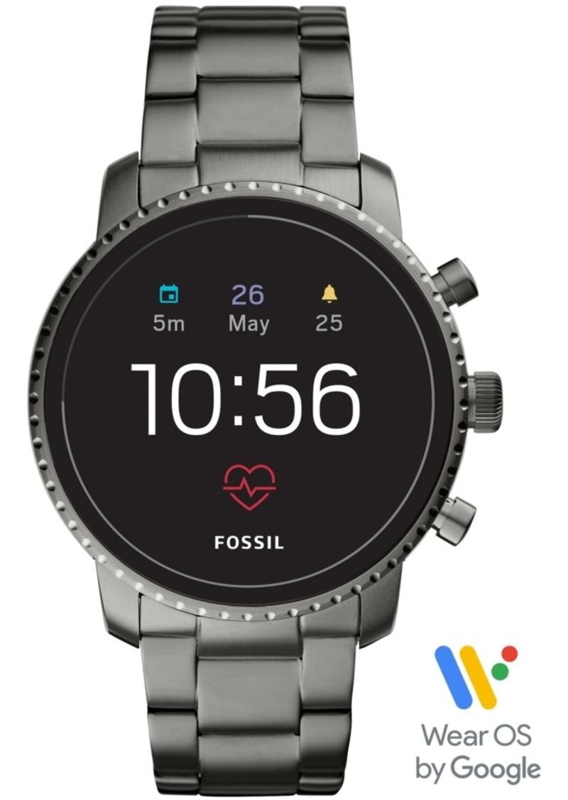 Fossil Men's Tech Explorist Gen 4 Hr Smoke Stainless Steel Bracelet Touchscreen Smart Watch 45mm, Powered by Wear Os by Google