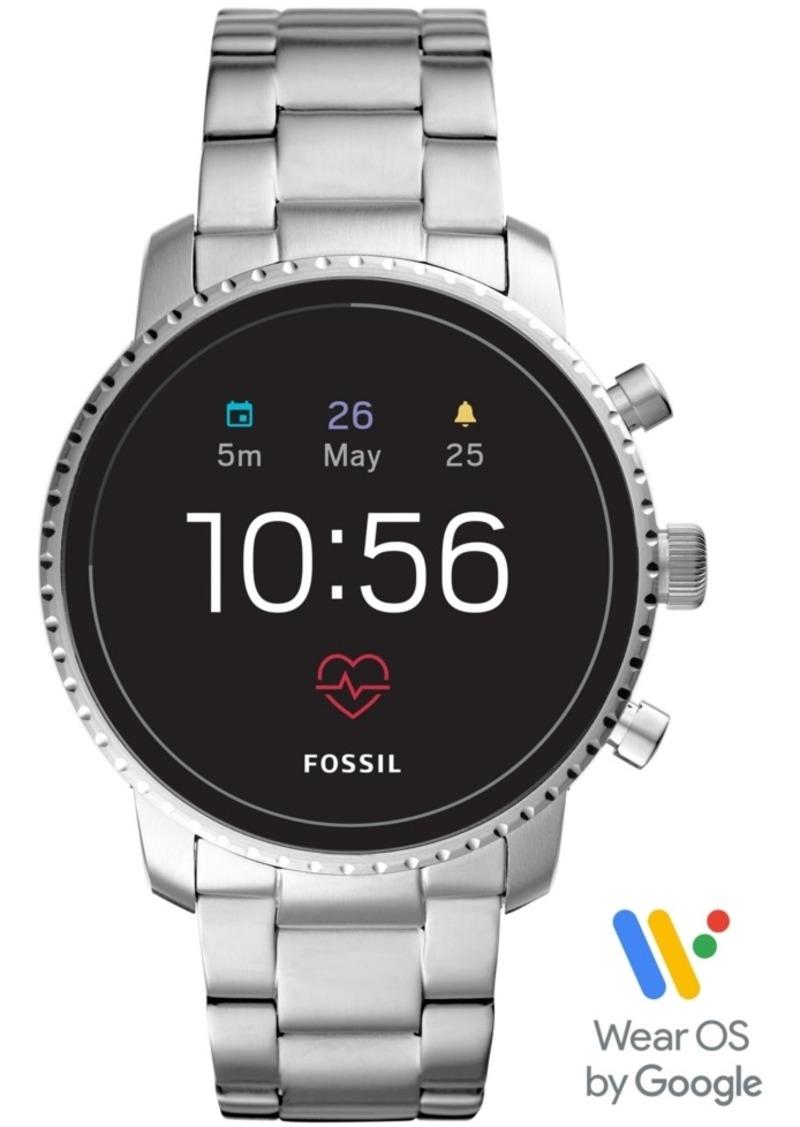 Fossil Men's Tech Explorist Gen 4 Hr Stainless Steel Bracelet Touchscreen Smart Watch 45mm, Powered by Wear Os by Google