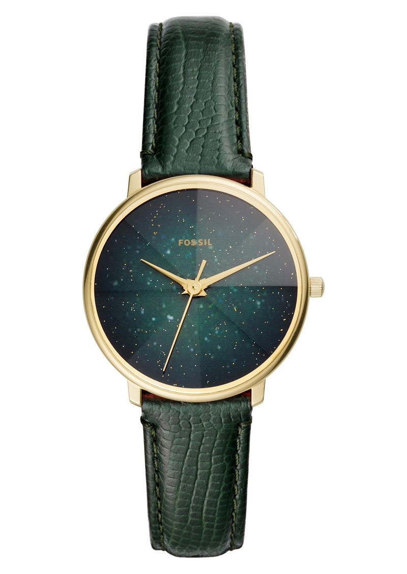 Fossil Prismatic Galaxy Leather Strap Watch, 33mm
