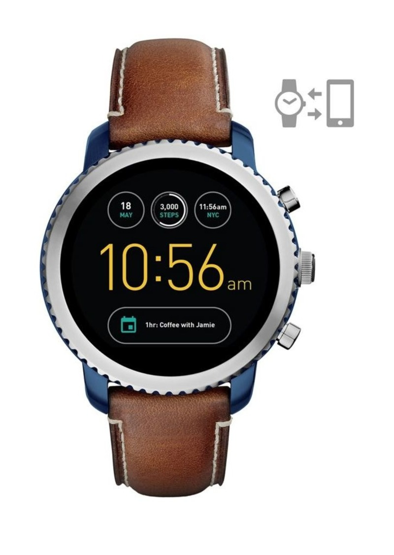 Fossil Q Explorist Leather-Strap Touchscreen Smart Watch
