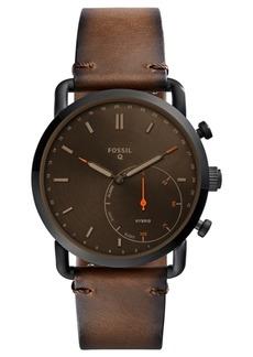 Fossil Q Men's Commuter Dark Brown Leather Hybrid Smart Watch 42mm