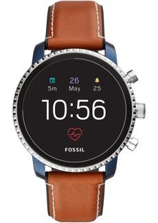 Fossil New Q Men's Explorist Gen 4 Hr Brown Leather Strap Touchscreen Smart Watch 45mm