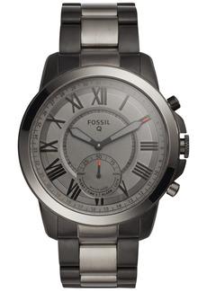 Fossil Q Men's Grant Black & Smoke-Tone Stainless Steel Bracelet Hybrid Smart Watch 44mm FTW1139