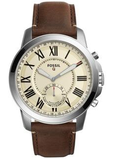 Fossil Q Men's Grant Saddle Brown Leather Strap Hybrid Smart Watch 44mm FTW1118