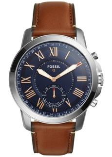 Fossil Q Men's Grant Saddle Brown Leather Strap Hybrid Smart Watch 44mm FTW1122