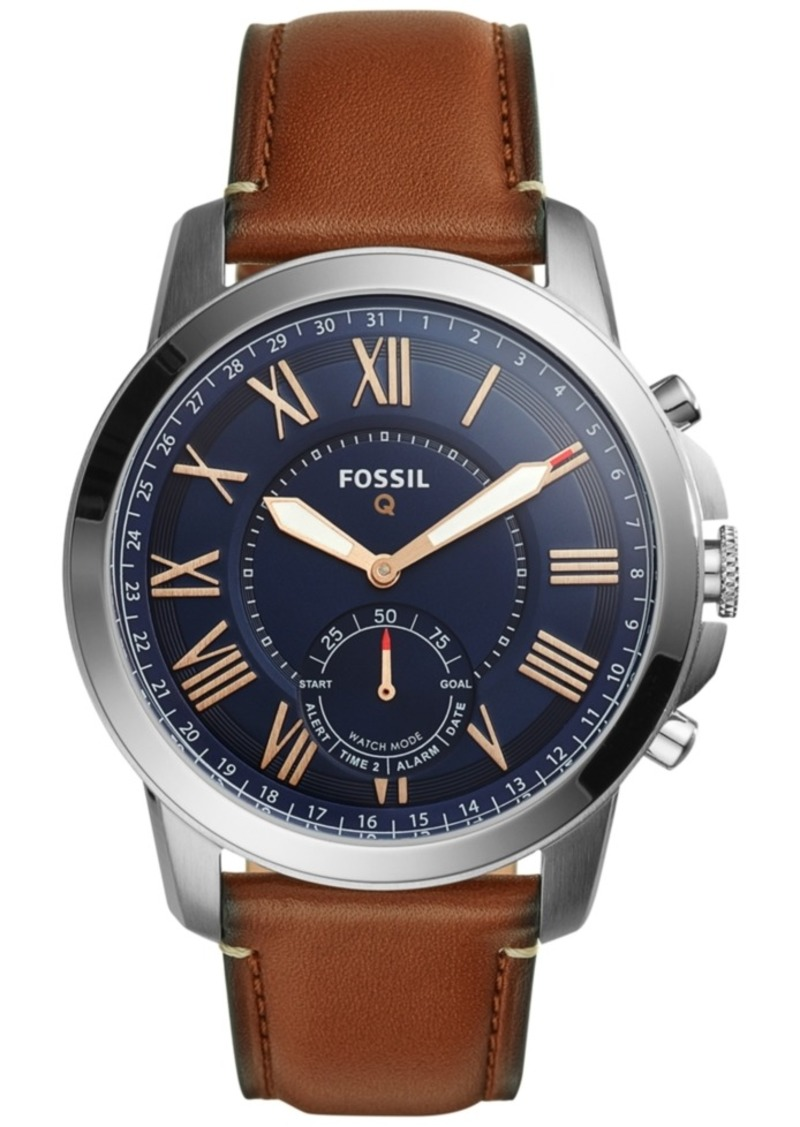 Fossil Men's Tech Grant Saddle Brown Leather Strap Hybrid Smart Watch 44mm