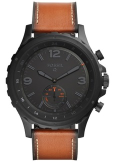 Fossil Q Men's Nate Dark Brown Leather Strap Hybrid Smart Watch 50mm FTW1114