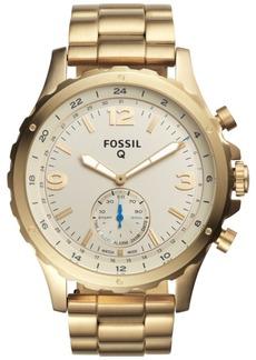 Fossil Q Men's Nate Gold-Tone Stainless Steel Bracelet Hybrid Smart Watch 50mm