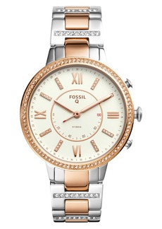Fossil Q Virginia Crystal Accent Hybrid Bracelet Smart Watch, 36mm